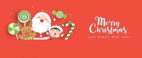 Christmas sale banner with a cute Santa clause and friends . vector