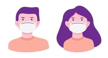 Man and woman wearing medical mask to prevent disease vector
