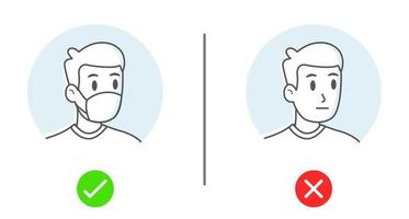 Simple drawing of No entry without face mask or wear mask icon vector