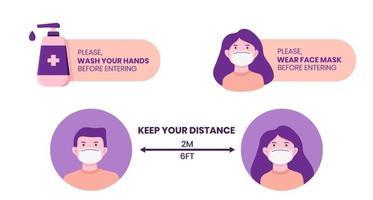 set of 3 illustration for virus prevention tips vector