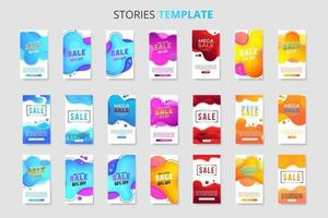 Mega collection of 21 sale banner template for social media stories vector