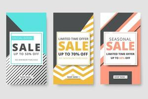sale discount promotional banner template for social media story vector