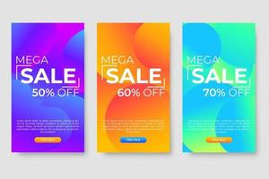 Set of 3 dynamic modern fluid design for mega sale banners vector