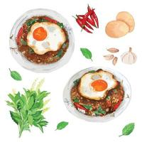 Thai Stir-Fried Minced Beef with Holy basil and Crispy Fried egg vector
