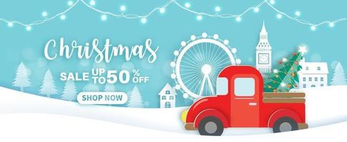 Christmas sale banner with a red car. vector