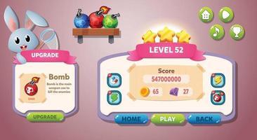 Casual Game UI menu pop up buttons vector