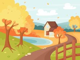 Autumn countryside landscape with houses, trees, lake, and fence vector