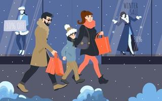 Christmas shopping with the whole family vector