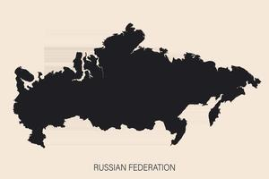 Highly detailed Russian Federation map with borders isolated on background vector