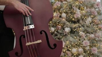 a man playing a cello a christmas melody against a background of a christmas tree photo