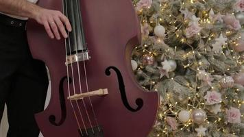man with violins joyfully playing music in room with christmas decorations photo