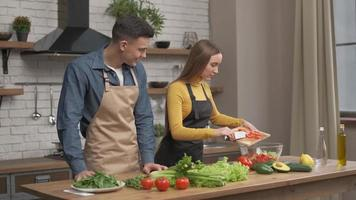 feliz pareja disfrutando de cocinar juntos en casa. Vista lateral de una mujer joven cortando verduras para la cena y hablando con su novio de pie cerca. alegre, hombre y mujer, enamorado, hacer, cena foto