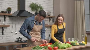 feliz pareja disfrutando de cocinar juntos en casa. Vista lateral del joven cortando verduras para la cena y hablando con su novio de pie cerca. alegre, hombre y mujer, enamorado, hacer, cena foto