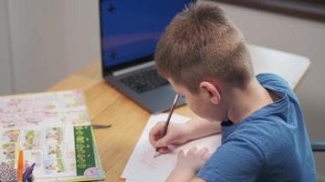 Back to School, Online learning, distance lesson, education at home, technology for schoolboy, business conference. Children doing homework at home photo