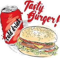 sabrosa hamburguesa y una bebida fría. ilustración vectorial. vector