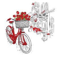 calle de la ciudad y bicicleta vintage con canasta de tulipanes. vector