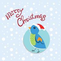 Hand drawing of birds. Birds on the tree. Christmas. vector