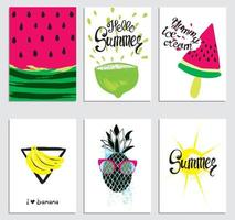 A set of stylish summer cards. vector