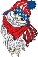 búho con gorra y corbata. pájaro pintado. ilustración vectorial vector