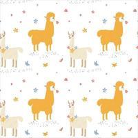 Seamless pattern of cute animal Llamas vector