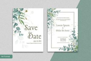 Wedding Invitation Template with Eucalyptus vector