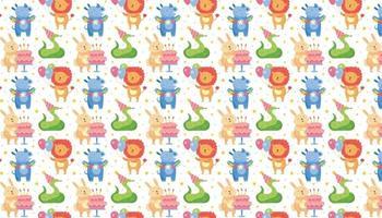 Happy birthday pattern, background Cute animals vector