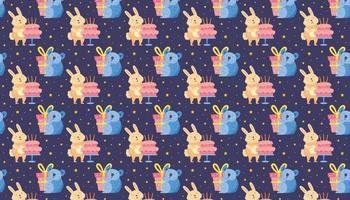 Happy birthday pattern background banner Cute animals Rabbit koala vector