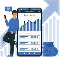 Young man with mobile watching finance app vector