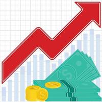 Profit graph of cash, banknotes and coins vector