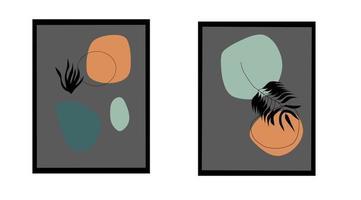 ilustración estética abstracta floral minimalista moderna vector