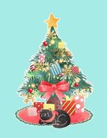 Cute Decorated Chrisrmas Tree with Black Cat Illustration vector