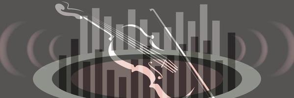Violin with sound symbol vector