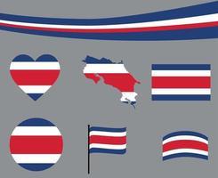 Costa Rica Flag Map Ribbon Heart Icons Vector Illustration Abstract