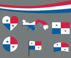 Panama Flag Map Ribbon And Heart Icons Vector Illustration Abstract