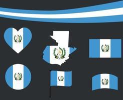Guatemala bandera mapa cinta y corazón iconos ilustración vectorial abstracto vector