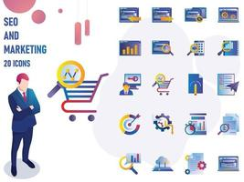 Gradient Seo And Marketing IconSet vector