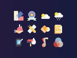 Glass Morphism Mixed icon set vector
