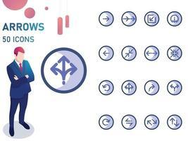 Blue Arrows Icon Set vector