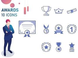 Blue Awards And Trophy Icon Set vector