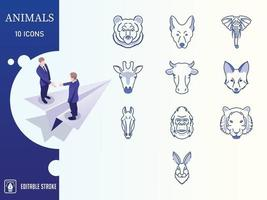 Blue Animals And wild Life Icon set vector