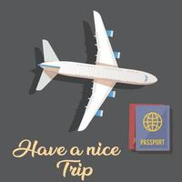 vector travel elements plane and passport  graphic design