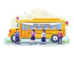 los niños felices irán a la escuela en autobús escolar. ilustración vectorial vector