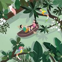 Cute lover having fun rowing boats in tropical forest vector