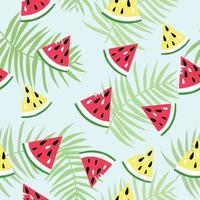 watermelon piece and coconut leaf seamless pattern vector