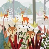 Wolf fox and deer in the forest. vector