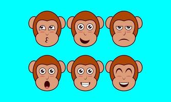 Vector illustration of a monkey face expression, cute animal, pet icon
