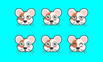 Vector illustration of a cute pet mouse animal facial expression icon