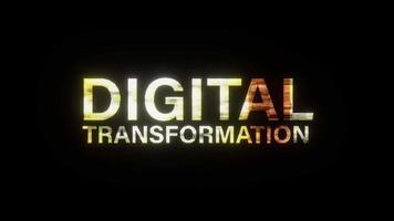 DIGITAL TRANSFORMATION golden shine text glitch effect loop video