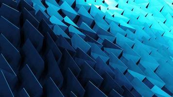 3D blue low polygon tower shape wave loop video