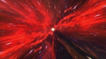 Red hyperspace worm hole tunnel loop space vortex video